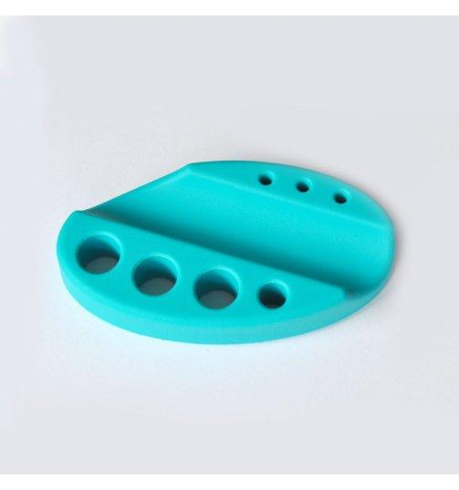 Turkusowa silikonowa podstawka na pigmenty i rączkę