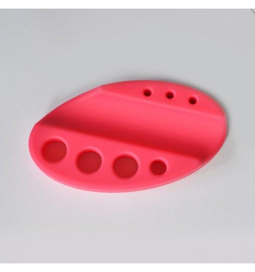 Jasno różowa silikonowa podstawka na pigmenty i rączkę